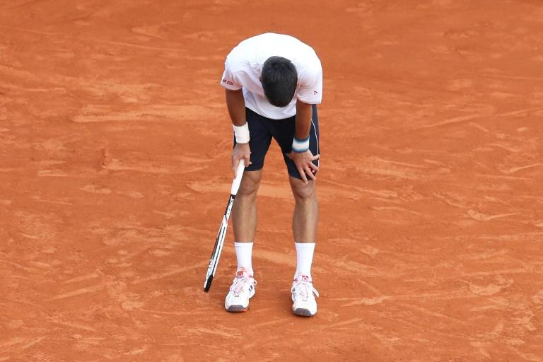 Serbia's Novak Djokovic reacts at the end of a tennis match against Belgium's David Goffin during the Monte-Carlo ATP Masters Series Tournament, on April 21, 2017 in Monaco