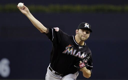 Miami Marlins starting pitcher Josh Johnson throws against the San Diego Padres in the first inning during their baseball game, Friday, May 4, 2012, in San Diego. (AP Photo/Gregory Bull)