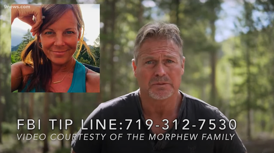 Barry Morphew in a video seeking information on his missing wife Suzanne Morphew (YouTube @9news.com)