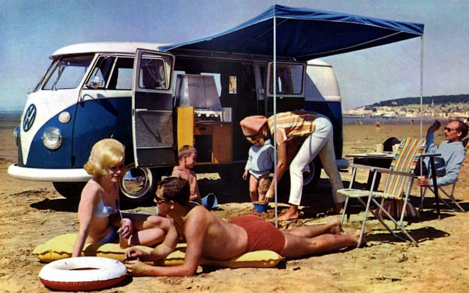 period brochure pic of VW Type 2 camper van - Magic Car Pics/REX