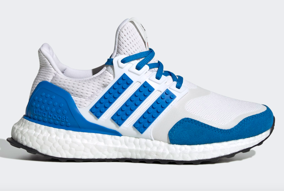 adidas Ultraboost DNA x Lego Colors running shoes in Cloud White/Shock Blue/Cloud White. - Credit: Courtesy of Adidas