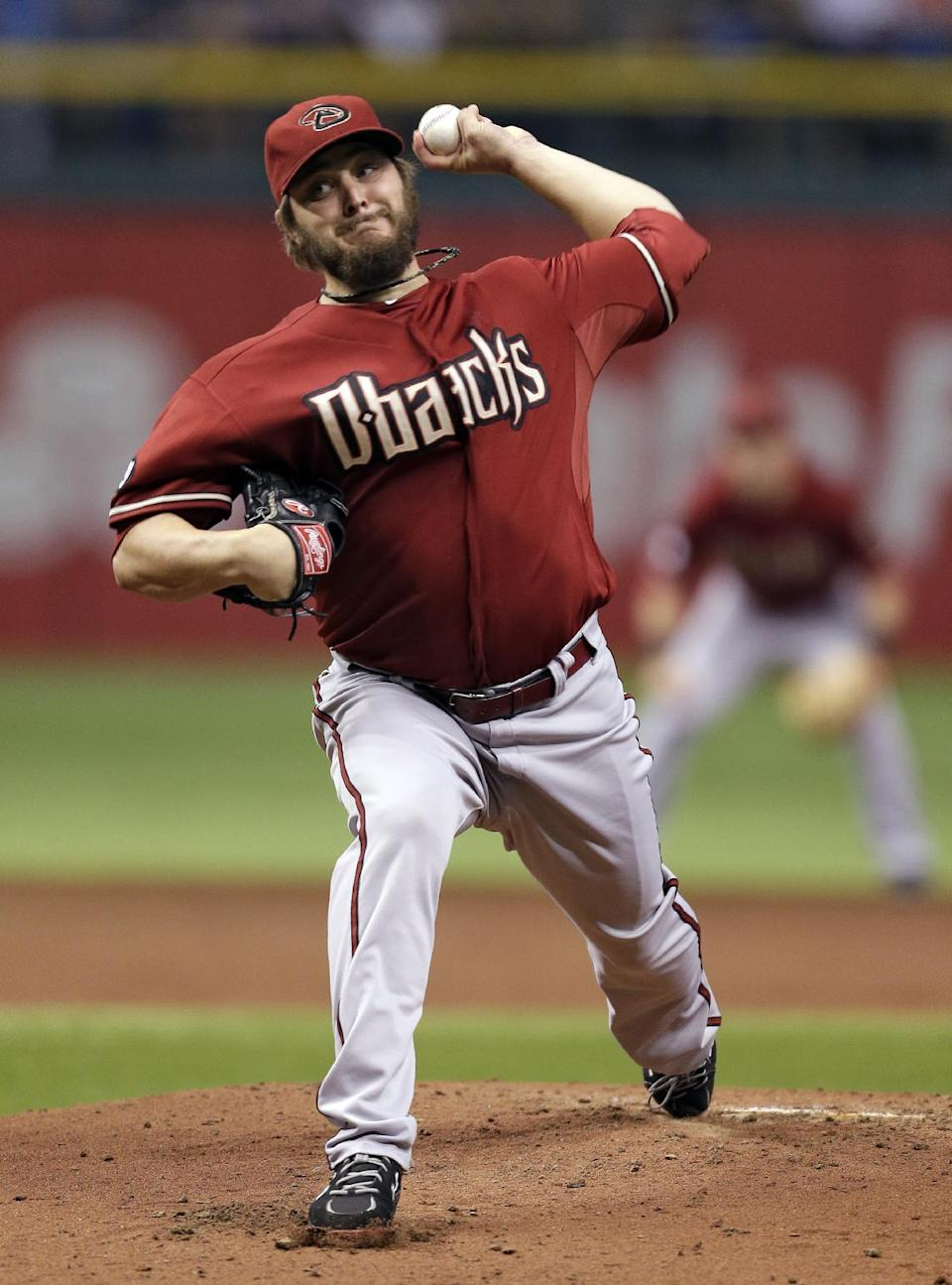 Arizona Diamondbacks starting pitcher Wade Miley delivers to Tampa Bay Rays' Desmond Jennings during the first inning of an interleague baseball game on Wednesday, July 31, 2013, in St. Petersburg, Fla. (AP Photo/Chris O'Meara)