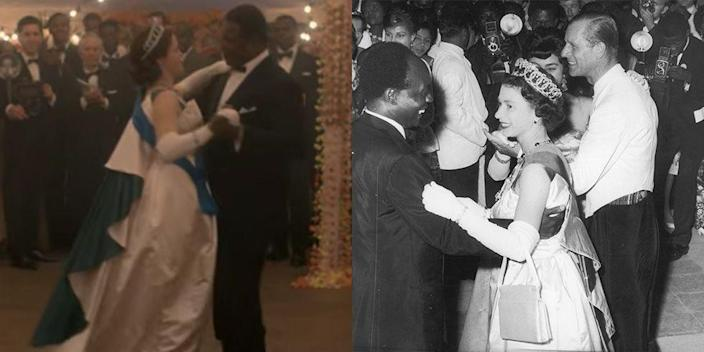 <p>Queen Elizabeth donned a sleeveless satin ball gown with a two-toned cape when she danced with Ghana's president, Kwame Nkrumah, on royal tour. The show recreated the outfit almost seam by seam — minus the clunky purse she was holding while she danced in real life.</p>