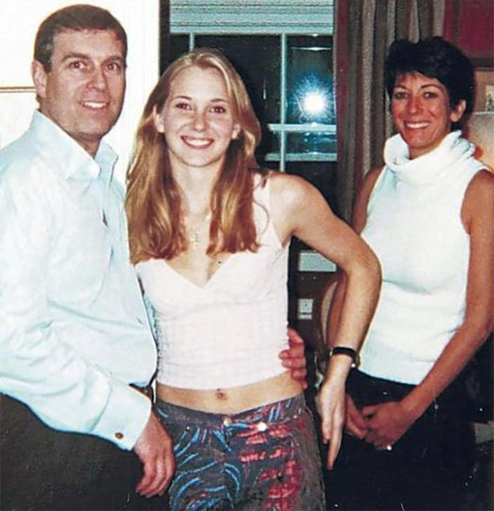 Virginia Giuffre with Prince Andrew and Ghislaine Maxwell at Prince Andrew's London home.
