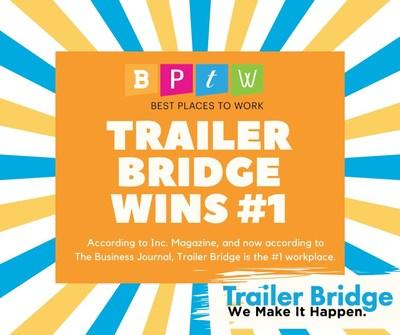 Trailer Bridge has been recognized as the #1 Best Place to Work in Jacksonville, Florida.
