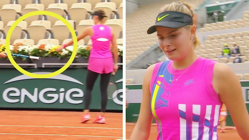 Katarina Zavatska (pictured right) crying as she walks to pick up a new racquet (pictured left) after snapping her strings.