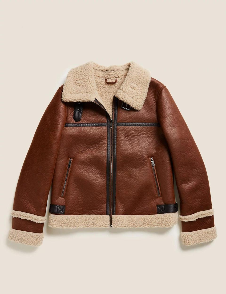"""<br><br><strong>M&S Collection</strong> Faux Shearling Aviator Jacket, $, available at <a href=""""https://www.marksandspencer.com/faux-shearling-borg-lined-biker-jacket/p/clp60454311?extid=ps_ps-gpla_ggl_ww_ch__-_UK_-_-_&gclsrc=aw.ds&&gclid=Cj0KCQjw28T8BRDbARIsAEOMBcy1m7YnuKOKN_yGwd9cGFuSMRTlxsrYUYtbrSAE2o8pHA66BHk784waArR7EALw_wcB&gclsrc=aw.ds"""" rel=""""nofollow noopener"""" target=""""_blank"""" data-ylk=""""slk:M&S, Marks & Spencer"""" class=""""link rapid-noclick-resp"""">M&S, Marks & Spencer</a>"""