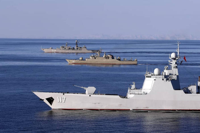 Iranian warships sail in the Sea of Oman during joint Iran, Russia and China naval war games on Dec. 28, 2019. (Photo: Iranian Army via AP)