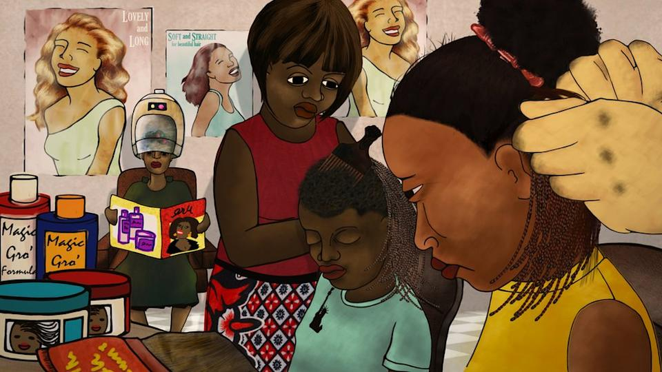 A still from her animation Yellow Fever showing girls getting their hair braided and some bottles of 'magic cream'.