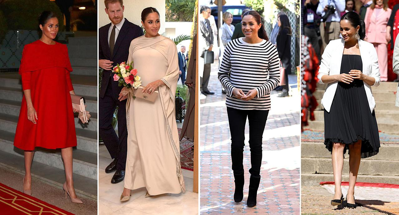 <p>Take a look at Meghan's outfits in Morocco in detail [Photos: Getty/PA] </p>