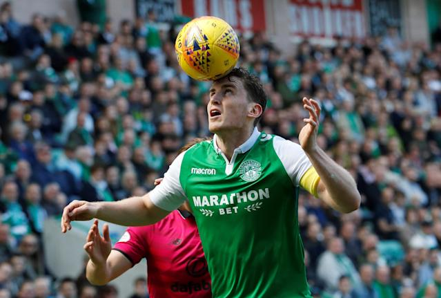 Soccer Football - Scottish Premiership - Hibernian v Celtic - Easter Road, Edinburgh, Britain - April 21, 2018 Hibernian's Paul Hanlon in action REUTERS/Russell Cheyne