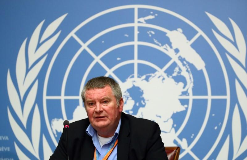 Mike Ryan, Executive Director of the WHO attends a news conference on the Ebola outbreak at the United Nations in Geneva
