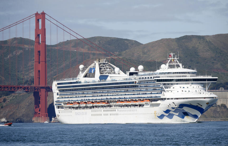 """SAN FRANCISCO, CA - MARCH 09: The Grand Princess cruise ship heads to the Port of Oakland""""u2019s Outer Harbor in Oakland, Calif., on Monday, March 9, 2020. Passengers on the Coronavirus-stricken ship disembarked at the port after being in a holding pattern outside the Golden Gate for several days. (Jane Tyska/Digital First Media/East Bay Times via Getty Images)"""