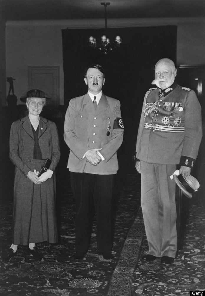 An undated picture shows nazi Chancellor Adolf Hitler posing with Paul von Hindenburg (R, 1925-1934), President of the Republic of Weimar. Woman at left is unidentified. AFP PHOTO // FRANCE PRESSE VOIR (Photo credit should read -/AFP/Getty Images)