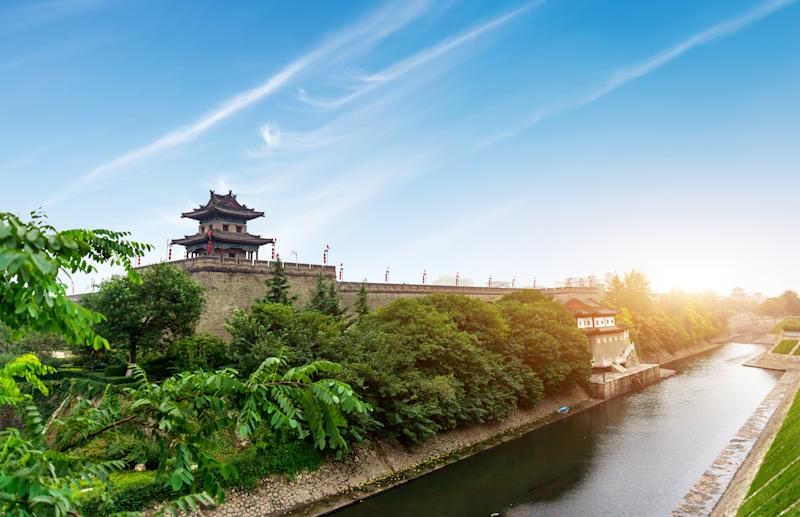 The fortifications of Xi'an, also known as the Xi'an City Wall, include a wide moat; Shaanxi province, China.