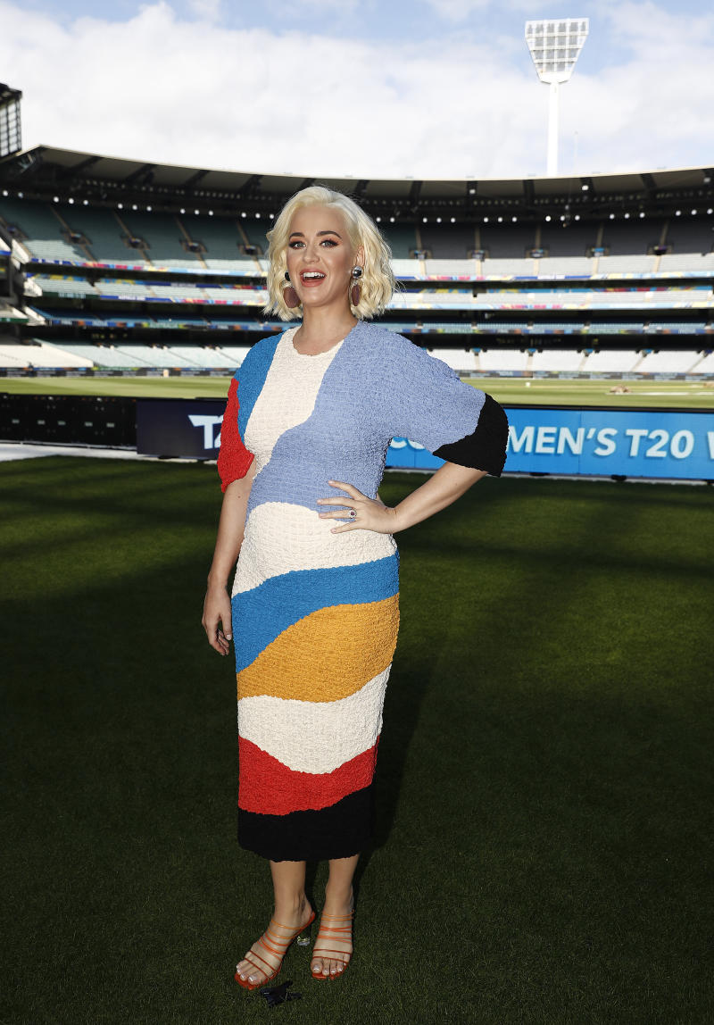 MELBOURNE, AUSTRALIA - MARCH 07: Singer Katy Perry poses during the 2020 ICC Women's T20 World Cup Media Opportunity at Melbourne Cricket Ground on March 07, 2020 in Melbourne, Australia. (Photo by Ryan Pierse/Getty Images)