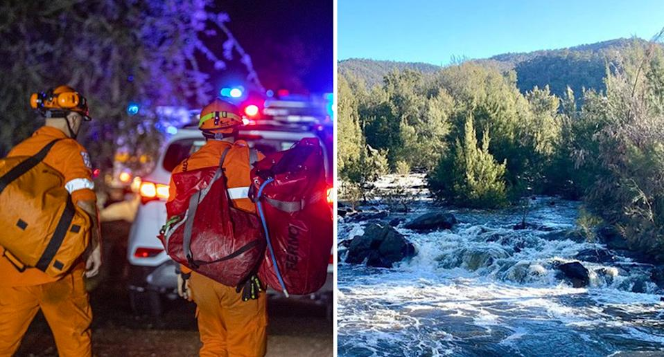 Arriving responders in the ACT to the river where the woman slipped in (right). Source: ACT Police/ Instagram - james99worlds
