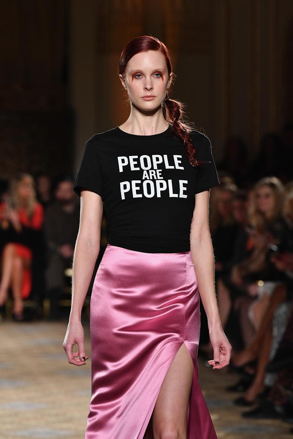 """<p>The designer is donating all of the profits from his """"People are People"""" T-shirts to the ACLU. People are People by Christian Siriano x Leggo your Ego, $25-$26 at <a rel=""""nofollow noopener"""" href=""""http://leggoyourego.merchdirect.com/products/59731-people-are-people-mens-sizing"""" target=""""_blank"""" data-ylk=""""slk:Leggo your Ego"""" class=""""link rapid-noclick-resp"""">Leggo your Ego</a>. </p>"""