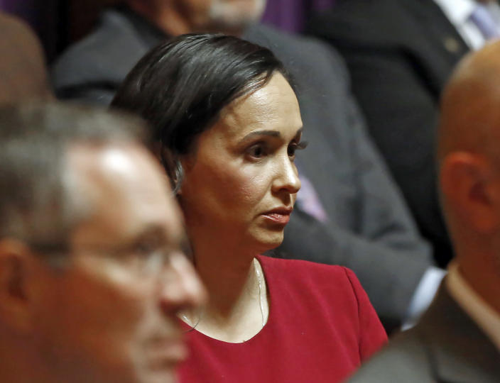 FILE - In this Nov. 6, 2019, file photo, California Republican Party chairwoman Jessica Millan Patterson listens as lawyers present their arguments for and against a recently approved state law before the California Supreme Court in Sacramento, Calif. Voters will start receiving ballots next month asking if Gov. Gavin Newsom, a Democrat should be recalled and if so, who they want to vote to replace him. Patterson and her allies want the party to unite behind one candidate. But activists and those tapped into the grassroots energy say it would be a mistake. The CAGOP's executive committee will meet Saturday July 24, 2021 and decide whether to let an endorsement move forward. (AP Photo/Rich Pedroncelli, Pool, File)