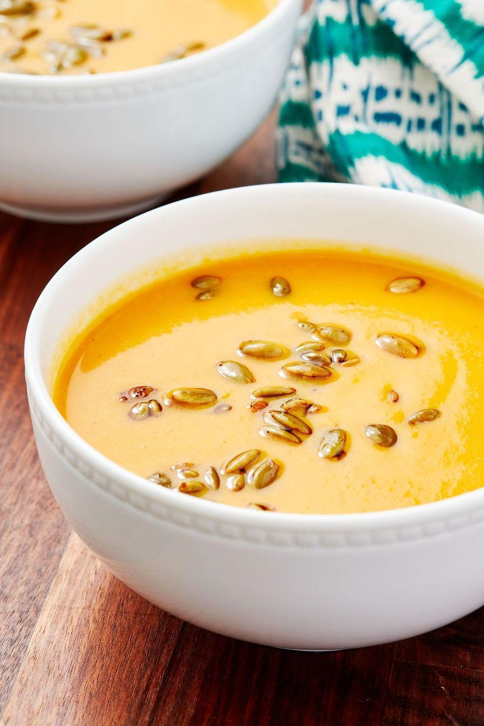 """<p>Squash soup is a go-to in the colder fall months, and this one will not disappoint. </p><p><strong><em>Get the recipe at <a href=""""https://www.delish.com/cooking/recipe-ideas/a28835116/panera-autumn-squash-soup-recipe/"""" rel=""""nofollow noopener"""" target=""""_blank"""" data-ylk=""""slk:Delish"""" class=""""link rapid-noclick-resp"""">Delish</a>. </em></strong></p><p><em><strong>__________________________________________________________</strong></em></p><p><em>Want more Woman's Day?<a href=""""https://subscribe.hearstmags.com/subscribe/womansday/253396?source=wdy_edit_article"""" rel=""""nofollow noopener"""" target=""""_blank"""" data-ylk=""""slk:Subscribe to Woman's Day"""" class=""""link rapid-noclick-resp"""">Subscribe to Woman's Day</a> today and get <strong>73% off your first 12 issues</strong>. And while you're at it, <a href=""""https://link.womansday.com/join/3o9/wdy-newsletter"""" rel=""""nofollow noopener"""" target=""""_blank"""" data-ylk=""""slk:sign up for our FREE newsletter"""" class=""""link rapid-noclick-resp"""">sign up for our FREE newsletter</a> for even more of the Woman's Day content you want.</em><br></p>"""