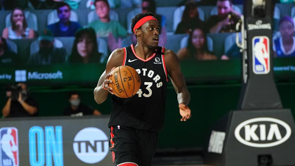 ORLANDO, FL - SEPTEMBER 5: Pascal Siakam #43 of the Toronto Raptors handles the ball during the game against the Boston Celtics during Game Four of the Eastern Conference Semifinals of the NBA Playoffs on September 5, 2020 at The Field House at ESPN Wide World Of Sports Complex in Orlando, Florida. NOTE TO USER: User expressly acknowledges and agrees that, by downloading and/or using this Photograph, user is consenting to the terms and conditions of the Getty Images License Agreement. Mandatory Copyright Notice: Copyright 2020 NBAE (Photo by Jesse D. Garrabrant/NBAE via Getty Images)
