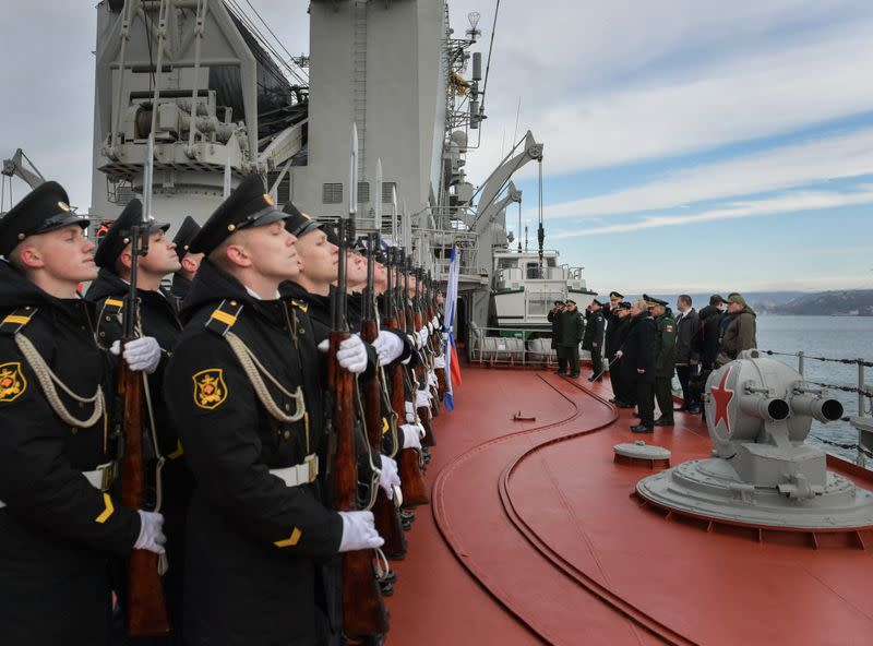 Russian President VladimirPutin attends the joint drills of the Northern and Black sea fleets on board the Russian guided missile cruiser Marshal Ustinov in Sevastopol