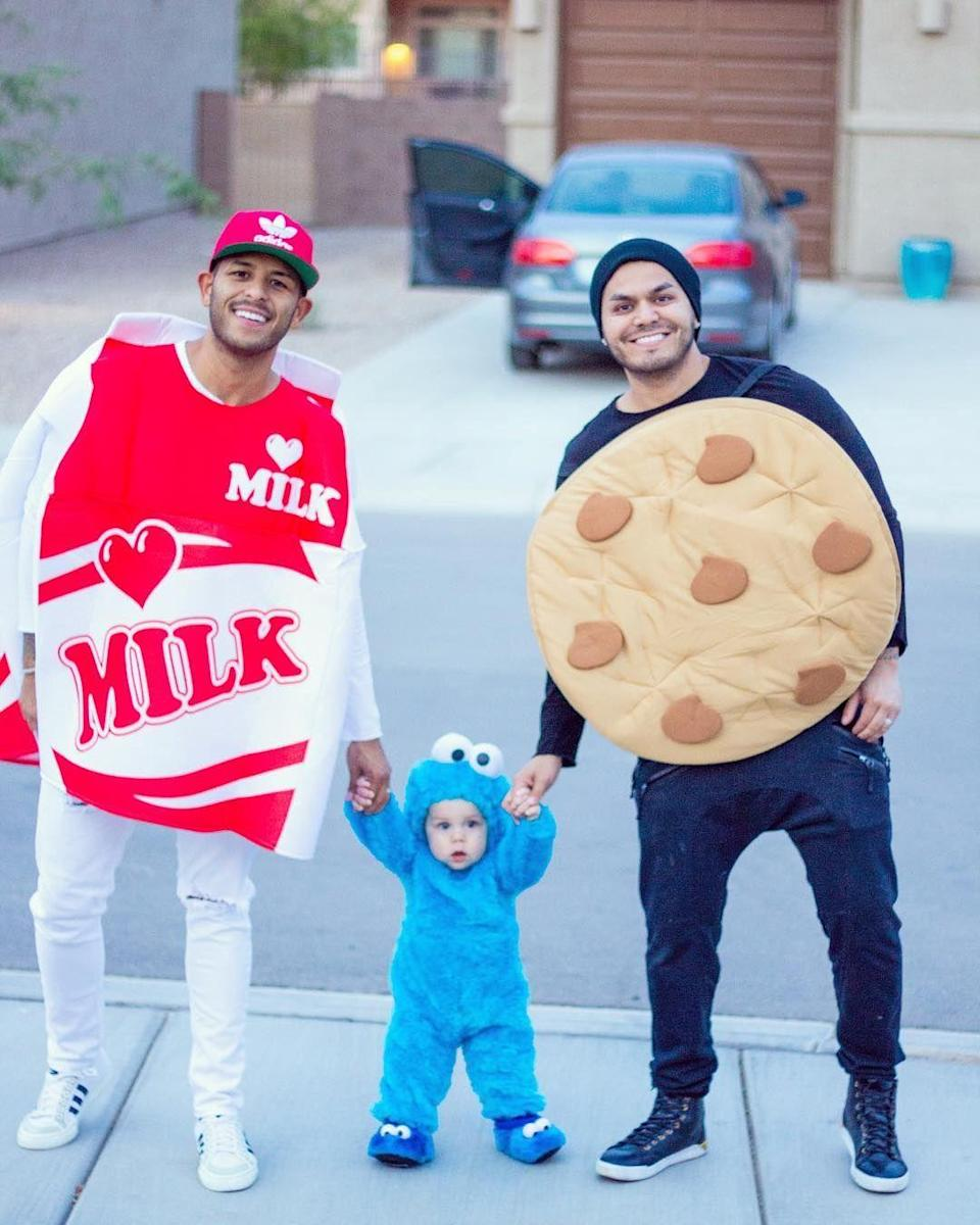 """<p>Does your little one loves sweets? Dress them as the ultimate cookie connoisseur, while you and your partner go as the core ingredients of the ultimate bedtime snack. </p><p><strong>See more at <a href=""""https://www.instagram.com/p/Ba7_eklh7cj/"""" rel=""""nofollow noopener"""" target=""""_blank"""" data-ylk=""""slk:@arejay5"""" class=""""link rapid-noclick-resp"""">@arejay5</a>.</strong></p><p><a class=""""link rapid-noclick-resp"""" href=""""https://www.amazon.com/Cookie-Monster-Two-Sided-Jumpsuit-Costume/dp/B001AG71QY/ref=sr_1_3?dchild=1&tag=syn-yahoo-20&ascsubtag=%5Bartid%7C10050.g.29074815%5Bsrc%7Cyahoo-us"""" rel=""""nofollow noopener"""" target=""""_blank"""" data-ylk=""""slk:SHOP COOKIE MONSTER COSTUME"""">SHOP COOKIE MONSTER COSTUME</a><br></p>"""