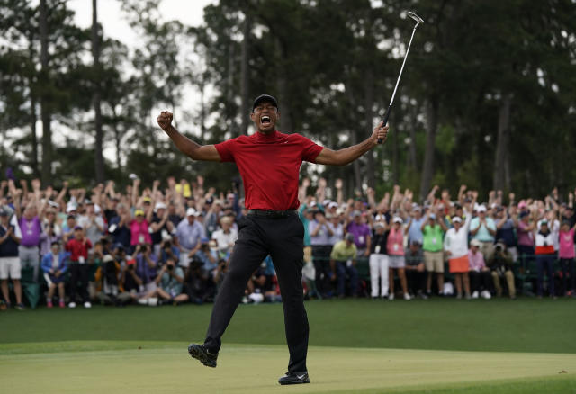 There will be no Masters for Tiger Woods to defend this April, if at all in 2020. (AP)