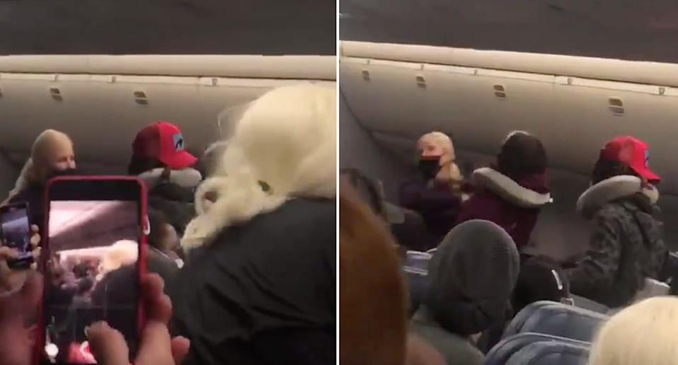 Passenger seen filming as the flight attendant reacts to being hit.