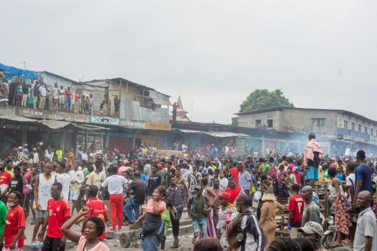 An anti-lockdown protest in Kinshasa last year. Official figures show 30,862 cases in DR Congo since March 2020, the vast majority in Kinshasa, for 779 deaths