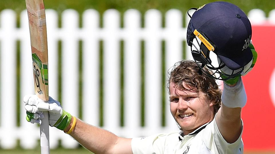 Pictured here, Will Pucovski salutes Victoria teammates after an amazing double century.