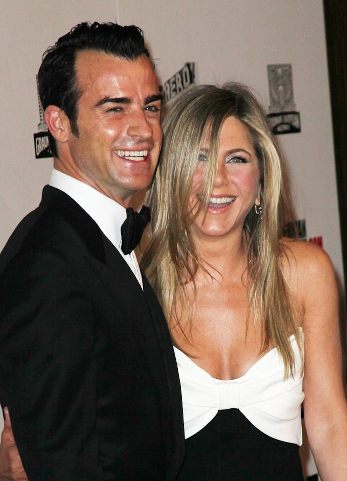 BEVERLY HILLS, CA - NOVEMBER 15:  Actors Justin Theroux and Jennifer Aniston attend the 26th American Cinematheque Award Gala honoring Ben Stiller at The Beverly Hilton Hotel on November 15, 2012 in Beverly Hills, California.  (Photo by David Livingston/Getty Images)