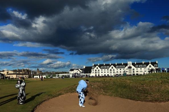 CARNOUSTIE, SCOTLAND - OCTOBER 05:  Ian Botham of England plays his second shot at the 18th hole during the second round of the Alfred Dunhill Links Championship on the Championship Links at Carnoustie on October 5, 2012 in Carnoustie, Scotland.  (Photo by David Cannon/Getty Images)