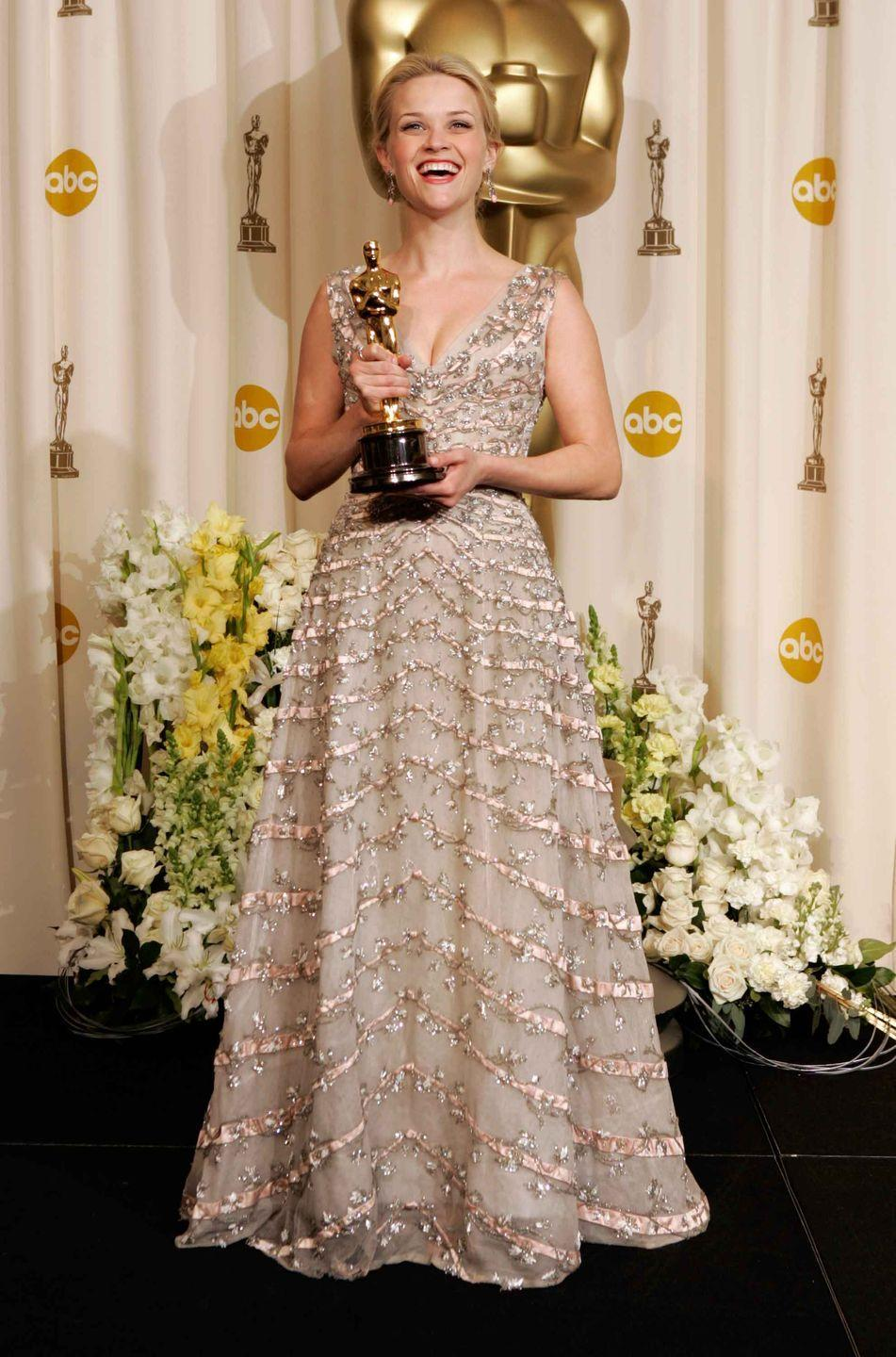 <p>Reese Witherspoon in vintage 1955 Christian Dior.</p>