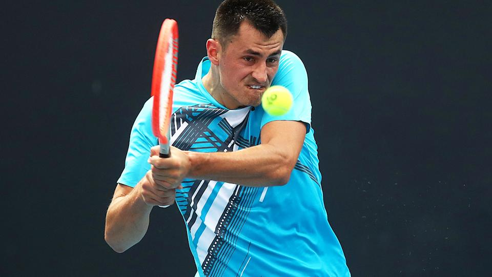 Bernard Tomic, pictured here in action at the Australian Open in February.