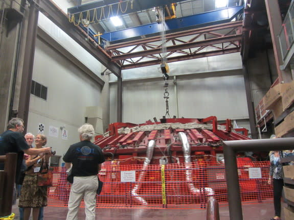 The third primary mirror for the Giant Magellan Telescope is cast in a spinning furnace at the University of Arizona's Steward Observatory Mirror Lab on Aug. 23, 2013.