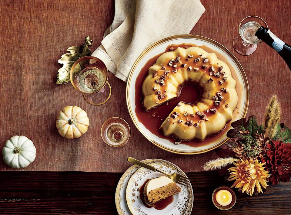 """<p><strong>Recipe: <a href=""""https://www.southernliving.com/recipes/pumpkin-spice-cake"""" rel=""""nofollow noopener"""" target=""""_blank"""" data-ylk=""""slk:Pumpkin Spice Magic Cake"""" class=""""link rapid-noclick-resp"""">Pumpkin Spice Magic Cake</a></strong></p> <p>Talk about """"wow factor!"""" This pumpkin spice cake was inspired by a Mexican dessert called impossible flan, and it will blow your Thanksgiving crew away.</p>"""