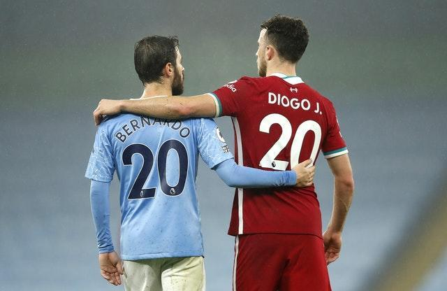 Portugal internationals Bernardo Silva and Diogo Jota set aside the increasing rivalry between Manchester City and Liverpool to embrace following November's 1-1 draw at the Etihad Stadium. As football prepares to turn its back on an unprecedented year, the Merseyside club are seeking to win successive top-flight titles for the first time since 1984 after breaking CIty's stranglehold on the Premier League title during a testing 2020 for clubs across the world
