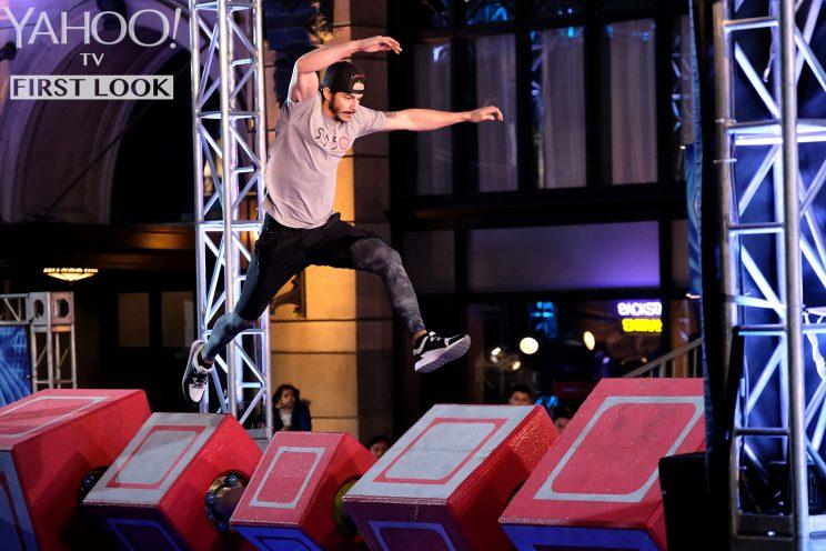 Flip Rodriguez in American Ninja Warrior (Photo: Tyler Golden/NBC)