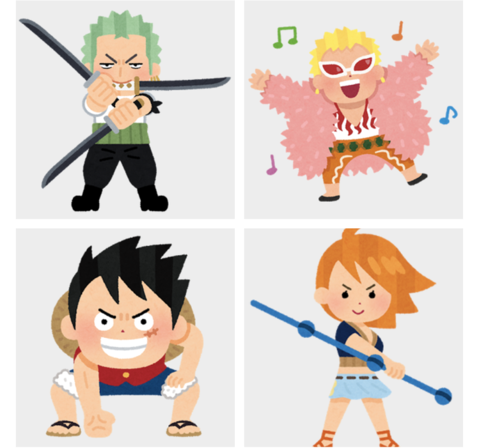 One Piece characters in stylised form, drawn by Irasutoya. Clockwise from top left: Zoro, Doflamingo, Nami and Luffy.