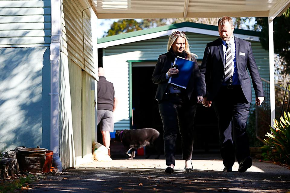 Detectives are seen at a property in West Pennant Hills, Sydney, days after the father killed his two children. Source: AAP