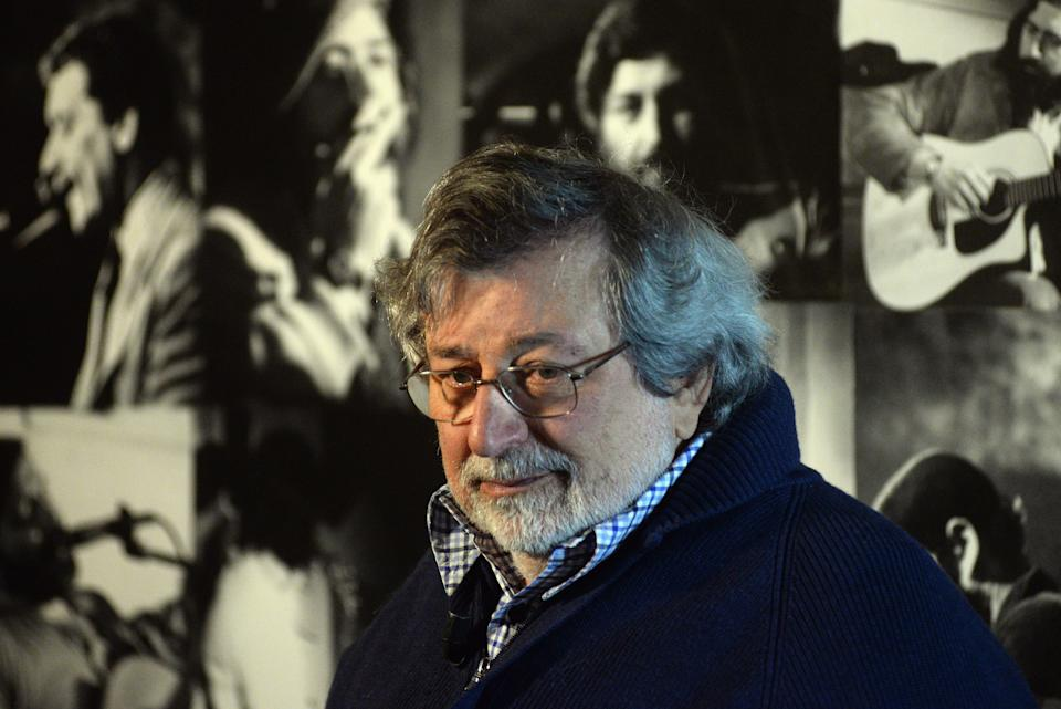 """BOLOGNA, ITALY - OCTOBER 27:  Italian musician and author Francesco Guccini unveils his latest record """"L'Osteria delle Dame"""" at Osteria delle Dame on October 27, 2017 in Bologna, Italy.  (Photo by Mario Carlini - Iguana Press/Getty Images) (Photo: Mario Carlini - Iguana Press via Getty Images)"""
