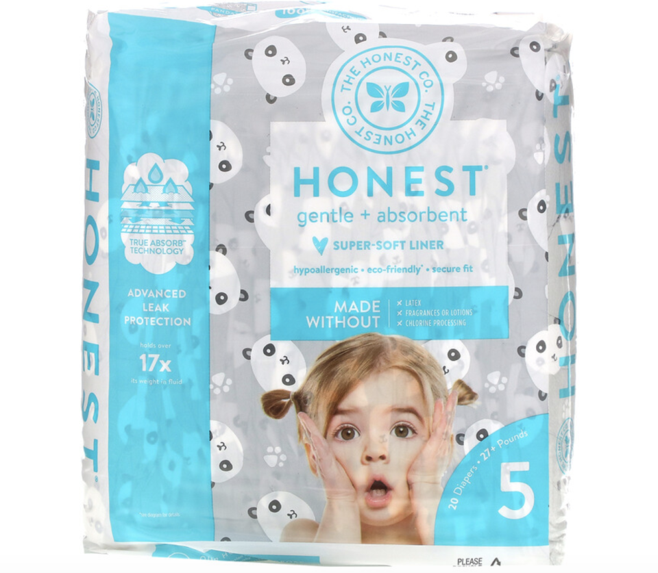 Honest Diapers, Size 5, 27+ Pounds, Pandas, 20 Diapers. PHOTO: iHerb