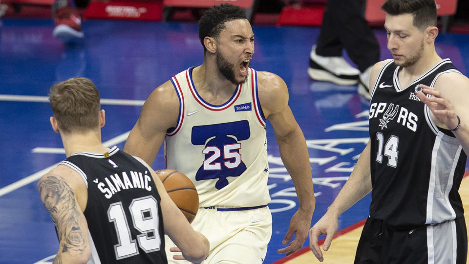 Ben Simmons had a strong second half to help the Philadelphia 76ers thrash the shorthanded San Antonio Spurs on Monday. (Photo by Mitchell Leff/Getty Images)
