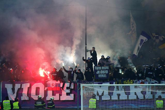 Soccer Football - Champions League - NK Maribor vs Sevilla - Ljudski vrt, Maribor, Slovenia - December 6, 2017 NK Maribor fans after the match REUTERS/Srdjan Zivulovic