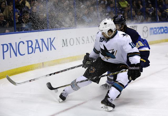 San Jose Sharks' Andrew Desjardins, front, and St. Louis Blues' Kevin Shattenkirk chase after a loose puck during the third period of an NHL hockey game Tuesday, Dec. 17, 2013, in St. Louis. The Sharks won 4-2. (AP Photo/Jeff Roberson)