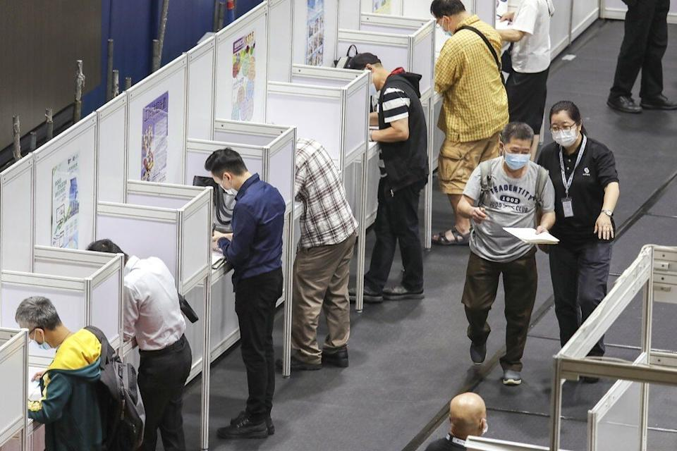 Some 1,250 Hongkongers had visited the job fair, as of 4.45pm on Wednesday. Photo: Nora Tam