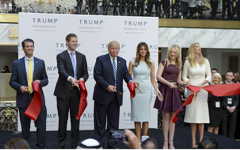 Donald Trump with, from left, his son Donald Jr, son Eric, wife Melania, and daughters Tiffany and Ivanka Trump - Credit: REX/Shutterstock