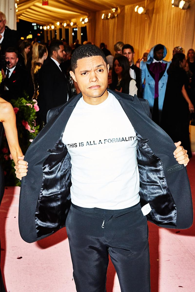 Trevor Noah on the red carpet at the Met Gala in New York City on Monday, May 6th, 2019. Photograph by Amy Lombard for W Magazine.