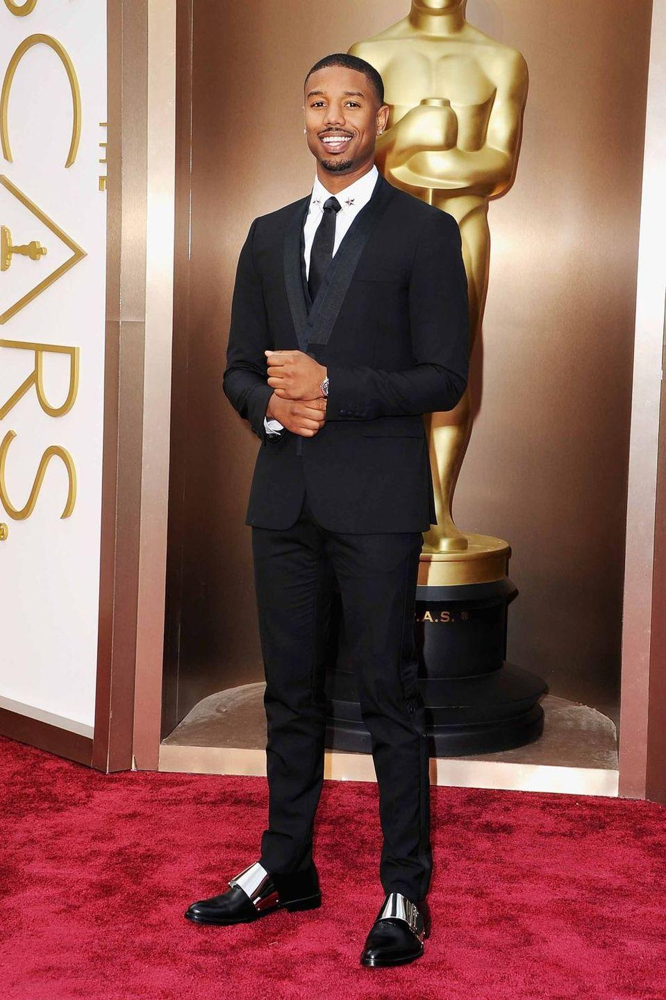 <p>Michael B. Jordan knows that blending classic (the tux) with a touch of modernity (the fit, the shoes) is always a good move.</p>